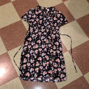 UO floral lace up 90s vintage dress sm md